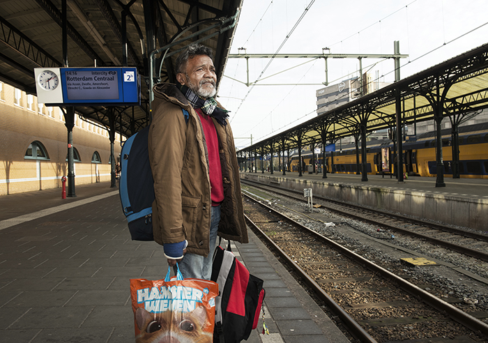 Dakloze in Groningen station